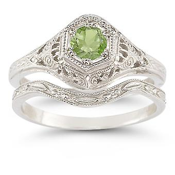 Conjunto de anillo de boda estilo antiguo Peridot
