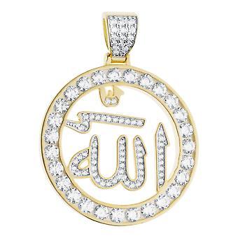 Premium Bling - colgante de Allah medallón de plata esterlina 925