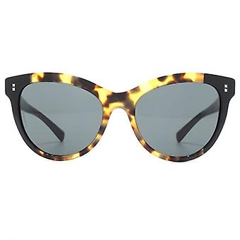 Valentino Stud Pin Detail Cateye Sunglasses In Havana Yellow Black