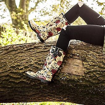 Spylovebuy Womens Skull Roses Wellies Wellington Boots