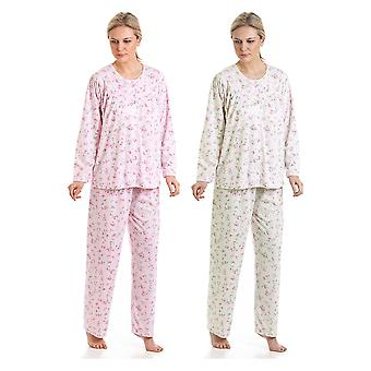 2 pack Damen In Bloom knuddeln stricken Floral Polycotton Pyjamas Nachtwäsche Nachtwäsche
