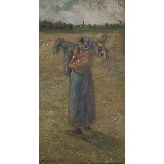 Camille Pissarro - Femme aux champs Poster Print Giclee