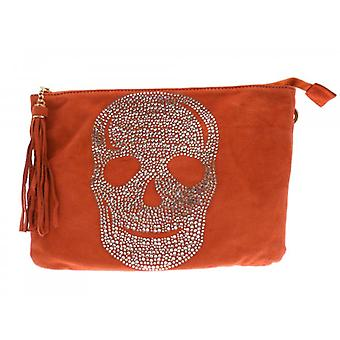W.A.T Crystal Skull Tassel Shoulder Bag Salmon Pink Faux Suede