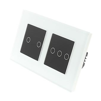 I LumoS White Glass Double Frame 5 Gang 1 Way Touch LED Light Switch Black Insert