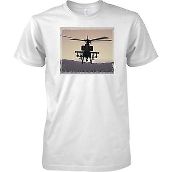 Apache Helicopter Gunship In Sunset - Mens T Shirt
