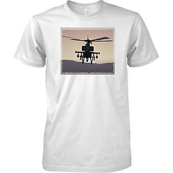 Apache helicóptero artillado en puesta del sol - para hombre T Shirt