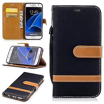 Bag for Samsung Galaxy S7 jeans cover cell phone protective cover case black
