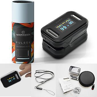 Pulsox - Finger Pulse Oximeter with Colour Display and Alarm Case Batteries Lanyard 5 Language Manual - 2 Year Warranty