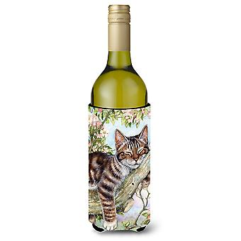 Sleepy Cat by Debbie Cook Wine Bottle Beverage Insulator Hugger