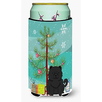 Merry Christmas Tree Chow Chow Black Tall Boy Beverage Insulator Hugger