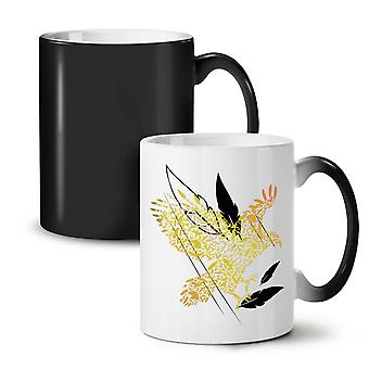 Bird Feather Fly Nature NEW Black Colour Changing Tea Coffee Ceramic Mug 11 oz | Wellcoda