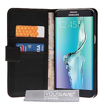 Samsung Галактика S6 края плюс кожа эффект бумажник чехол - Черный