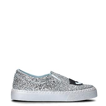 Ladies CF1688 grey glitter slip on sneakers Chiara Ferragni
