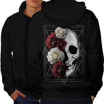 Skull Rose Flowers Men BlackHoodie Back | Wellcoda