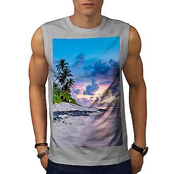 Sea Art Shore Palm Men GreySleeveless T-shirt | Wellcoda