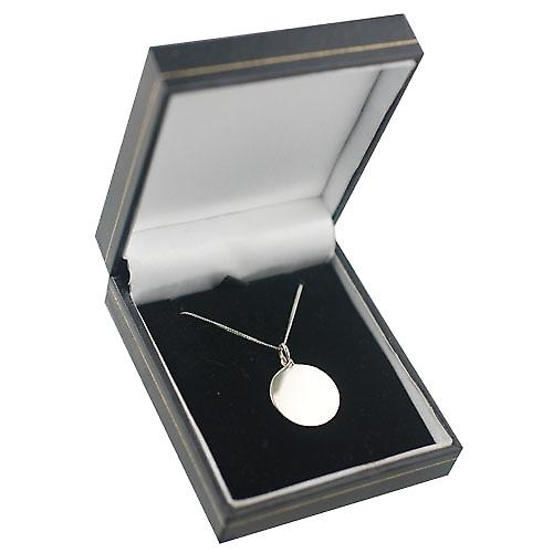 9ct White Gold 20mm round plain Disc with a Curb Chain