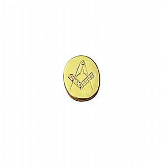 Hard Gold Plated 12x8mm oval hand engraved Masonic Tie Tack