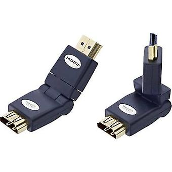 HDMI Adapter [1x HDMI plug - 1x HDMI socket] Black gold plated connectors, High Speed HDMI with Ethernet Inakustik