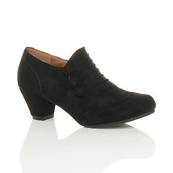 Ajvani Womens Mitte Ferse Tasten zip smart Brogue Knöchel Schuhe Stiefel Stiefeletten