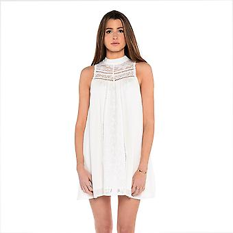 Lace Panel Collared Dress