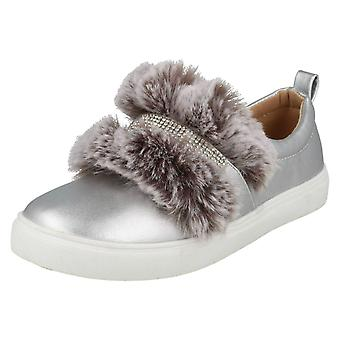 Girls Spot On Diamante Strap Fur Trim Shoes H2457