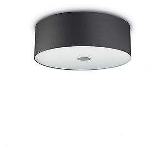 Ideal Lux Woody Ceiling Flush Black Drum Cylinder Shade Light