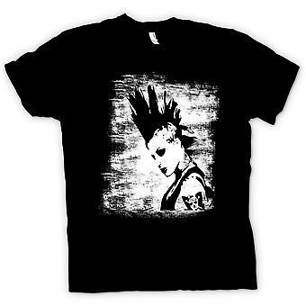 Mens T-shirt - Punk Rocker Mohican Girl - BW - Pop Art