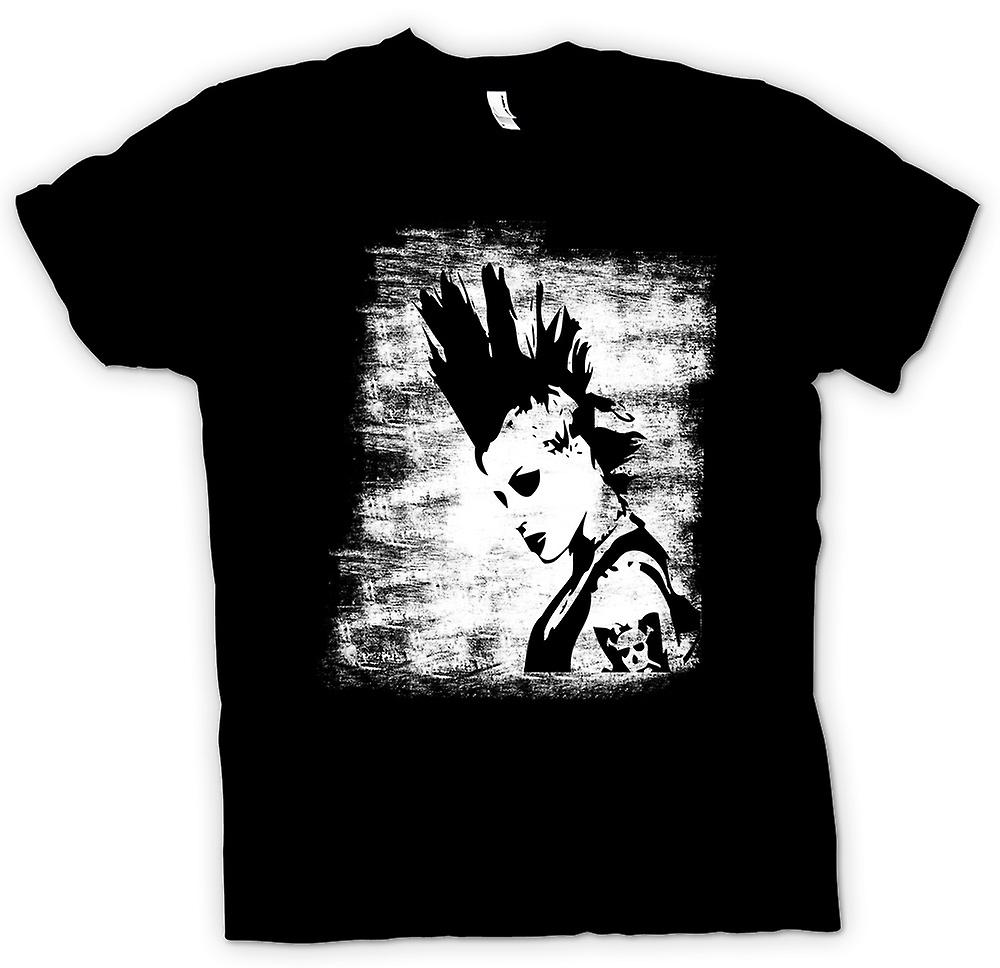 Womens T-shirt - Punk Rocker Mohican Girl - BW - Pop Art