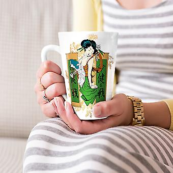 Japanese Geisha Fantasy NEW White Tea Coffee Ceramic Latte Mug 17 oz | Wellcoda