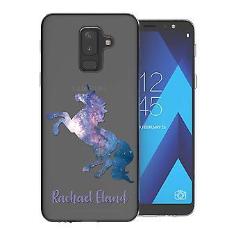 Samsung A6 pluss (2018) blå Unicorn personlig TPU bærevesken