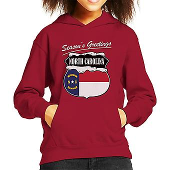 Seasons Greetings North Carolina Kid's Hooded Sweatshirt