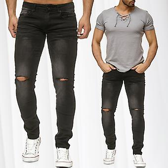 Men's Jeans Destroyed Pants Ripped Tapered Vintage Used Washed