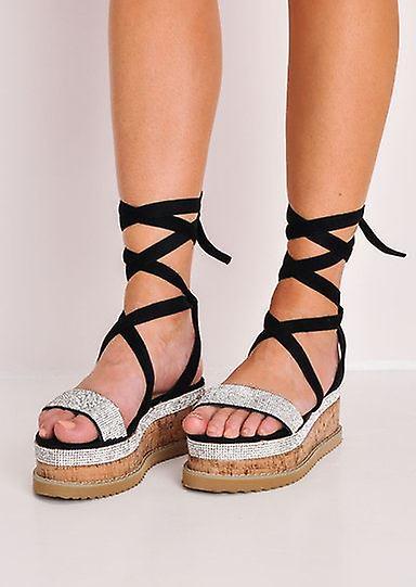 Diamante Suede Lace Up Flatform Espadrille Sandals Black