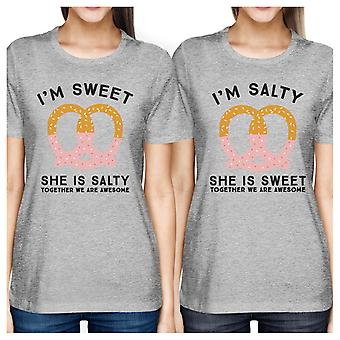 Sweet And Salty Grey Cute Best Friend Matching T-Shirts For Summer