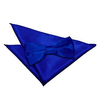 Pajarita raso real azul llano y conjunto Plaza de bolsillo