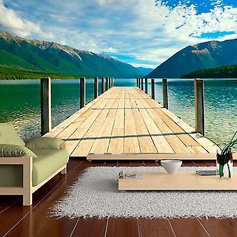 Wallpaper - Mountain lake bridge