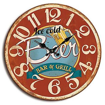 Retro wall clock Ice Cold bear red.