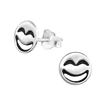 Laughing Face - 925 Sterling Silver Plain Ear Studs - W30163x