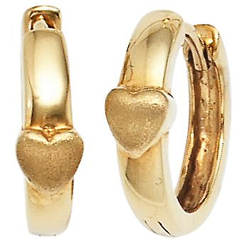 Hoops Klappkreolen heart partially frosted 333 gold yellow gold earrings gold heart