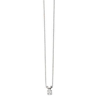 Elements Gold 0.25CT Solitaire Necklace - White Gold/Clear