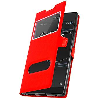 Double window flip standing case for Sony Xperia L1 with TPU shell - Red