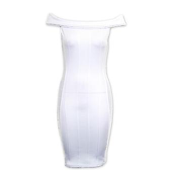 Ladies Bardot Off Shoulder Ribbed Slim Stretch Bodycon Short Women's Dress