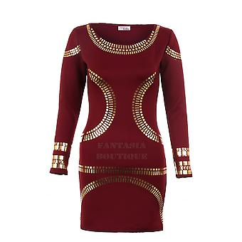 Dames goud folie tuniek Celebrity Kim Bodycon slanke pasvorm korte Women's Party kleding