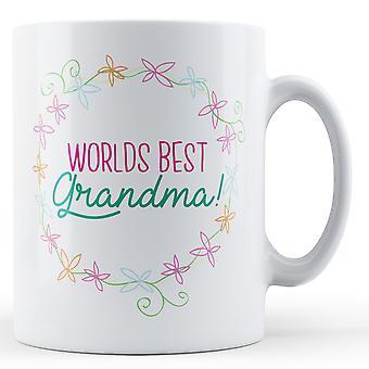 Worlds Best Grandma! (Floral) - Printed Mug