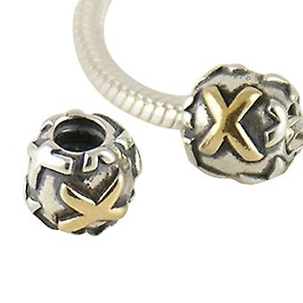 Sterling silver charm & gold plated letter X