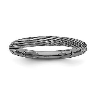 2,5 mm Sterling Silber Ruthenium-Beschichtung stapelbar Ausdrücke schwarz verchromte texturiert Ring - Ringgröße: 5 bis 10