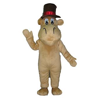 mascot SPOTSOUND of Hippo, camel Brown with a big hat