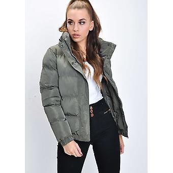 Oversized Crop Concealed Hood Padded Puffer Jacket Coat Khaki Green