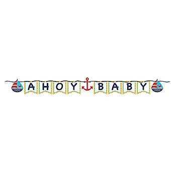 Small sailor Garland Ahoy baby 170 cm sailor party birthday decoration