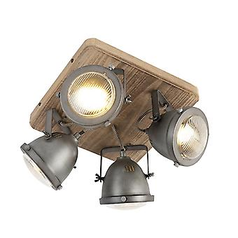QAZQA Sturdy Ceiling Spotlight 4 Scorched Steel with Wood Base - Emado